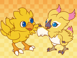 Chocobo and Rappy by Aviarei