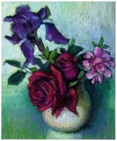 iris and roses..pastels by xxaihxx