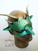 Green and Gold Leather Dragon Mask by nondecaf