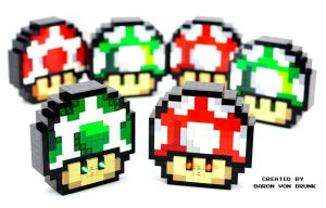 Electronic LEGO Super Mario Mushrooms by VonBrunk
