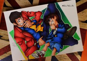 Lupin the Third Vs. Detective Conan Drawing by ShiroiNekosArt