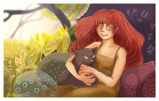 A girl and a cat by Miliedessine