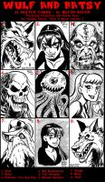 Wulf and Batsy Artist Sketch Cards page 1 by BryanBaugh