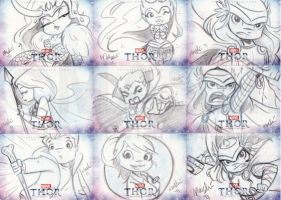 Thor Sketch Cards by mashi