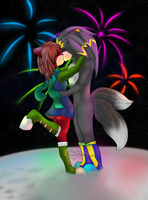 Sonic commish: New years kiss by Tontora
