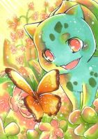Bulbasaur and the butterfly by whitelapin