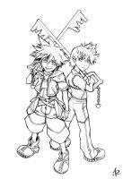 Sora and Roxas WIP by Anyarr