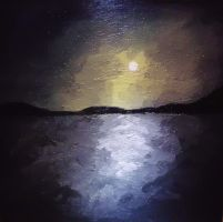 Night Landscape 3: Moonlight Lake by CpointSpoint
