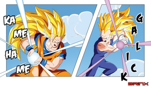 SSJ3 Goku vs SSJ3 Vegeta by Brinx-dragonball