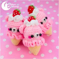 Crochet strawberry ice-cream bear Charm by CuteMoonbunny