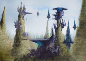 Alien city by Theclockworkpainter