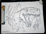 This T-Rex is inked and ready for the computer. by ErikDePrince