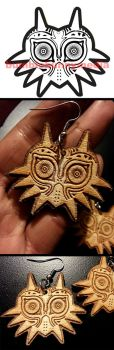 -Etsy- Wooden Majoras Mask Earrings by Nortiker