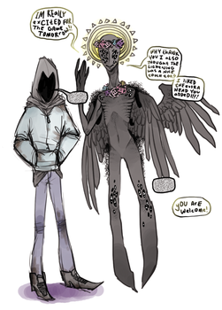 Hooded Figure And Angel by Inkypad
