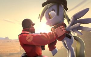 Soldier and Derpy [SFM] by d4rkm4nolo