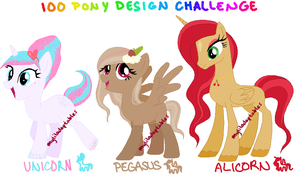 MLP- 100 Pony Design Challenge #16-18 - CLOSED by MyLilAdoptables
