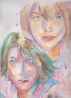 yuna incarnations. in water color by Amanoobaricom