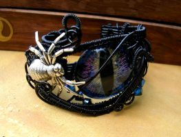Wire Wrap - Drow Spider Super Color Shift Cuff 1 by LadyPirotessa