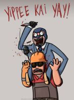 TF2: Piggybackstab by kittydemonchild