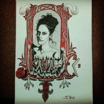 Kaya Scodelario Portrait freehand seudo-nouveau by armstrong2112