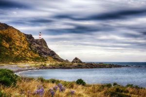 Cape Palliser lighthouse by wolfblueeyes
