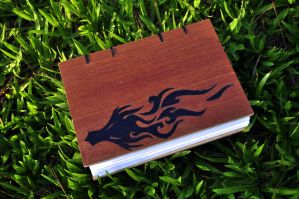 Handmade brown plywood journal A5 size - Dragon by TrucomanX