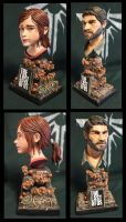 Ellie and Joe The Last of us bust's by Leebea