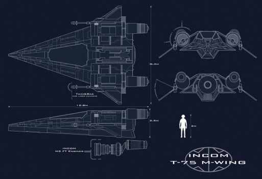Incom T-75 M-wing Blueprints by AdamKop