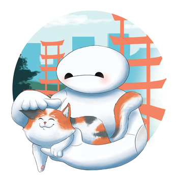 Baymax and Mochi by CourtElz