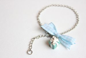 Aqua blue gift box charm bracelet with ribbon by LaNostalgie05