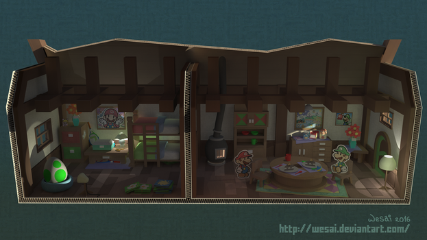 Paper Mario - Mario's House Redesign by wesai