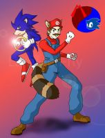 Mario and Sonic by Larry-teh-fly