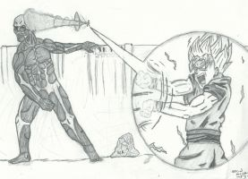 Goku vs. Colossal Titan by RudeKaiser396