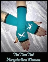 Tea Time Teal Arm Warmers by ZenAndCoffee