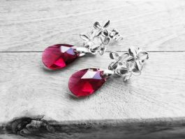 Swarovski Ruby Red Crystal Flower Post Earrings by crystaland