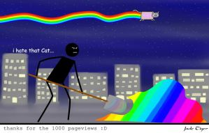 Thanks for the 1000 views whit the Nyan Nyan Cat by Jade-Tiger7