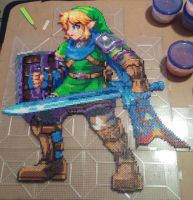Hyrule Warriors Link Perler WIP 3 by kamikazekeeg