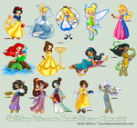 Disney Princesses+Heroines by bytesizetreasure