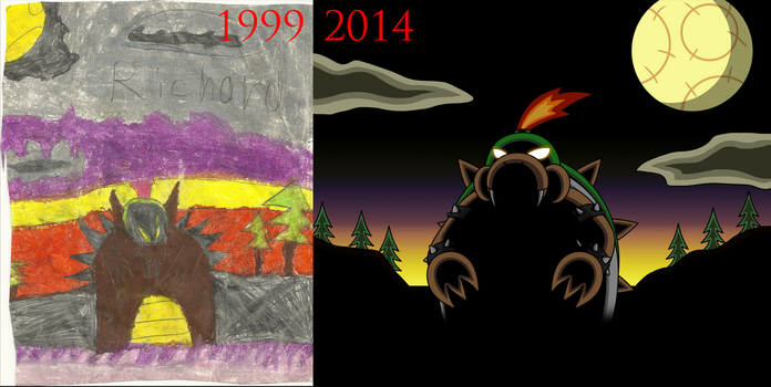 Baby Bowser 1999 Vs 2014 by AraghenXD