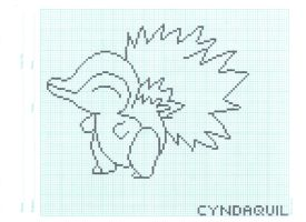 Cyndaquil on graph paper. by FlamingSalad