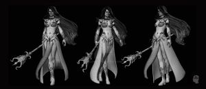 Dark Elf Sorceress - Wireframe by SzeJones