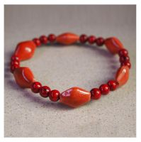 Lava Orange and Red Bracelet by ariaoftherain