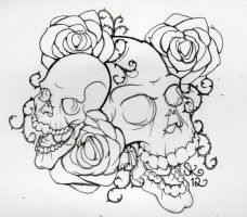 skulls and roses by itchyban