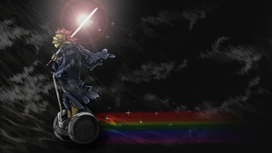Armored knight on a rainbow segway by Inurbanissimus