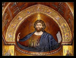 Blessed Jesus - Mosaic in the Duomo - Monreale by skarzynscy