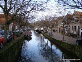 Town canal in Enkhuizen by babsartcreations