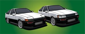 AE86 Panda Twins by dreeft