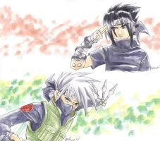 Kakashi and Sasuke by tiffa