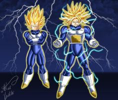 Super Vegeta and Super Trunks by SWAVE18