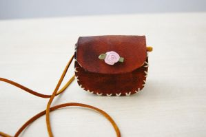 Tiny Leather Bag Necklace by ButtonxMushroom